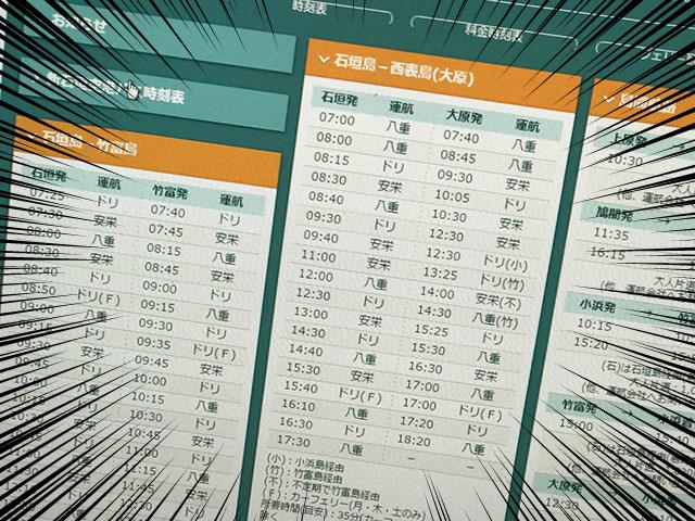 八重山、船の時刻表 平成29年4月1日~平成29年9月30日版